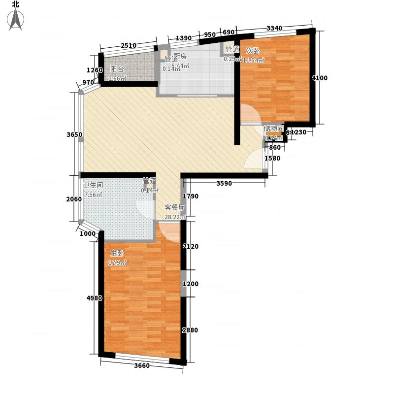 香梅花园五期107.00㎡五期F户型2室2厅1卫1厨