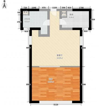 香梅花园五期1室1厅1卫1厨64.00㎡户型图