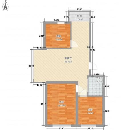 香槟小镇3室1厅1卫0厨88.00㎡户型图