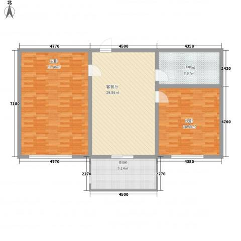 香槟小镇2室1厅1卫1厨97.69㎡户型图