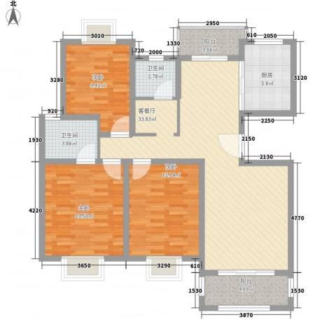 御林华府3室1厅2卫1厨129.00㎡户型图