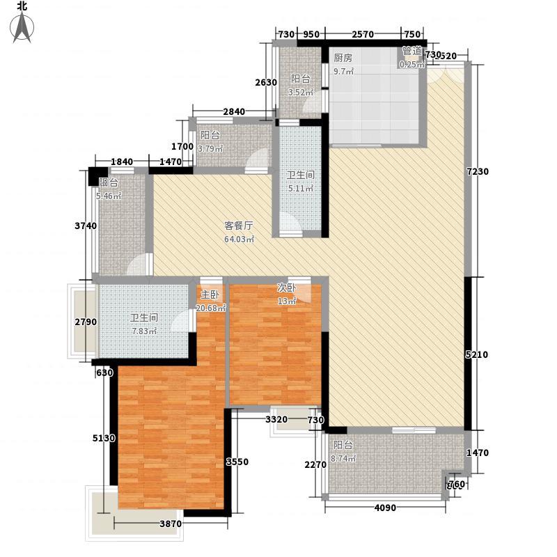 成都华侨城纯水岸135.00㎡二期C户型2室2厅2卫1厨