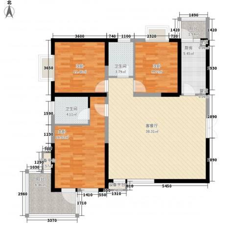 曲江中铁建国际城3室1厅2卫1厨127.00㎡户型图