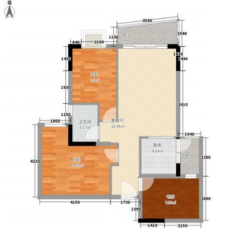 骏景花园3室1厅1卫1厨90.00㎡户型图