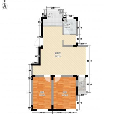 天富北苑2室1厅1卫1厨70.00㎡户型图
