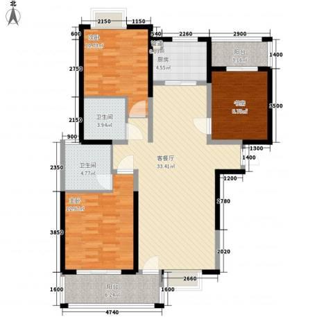 蓝鼎滨湖假日枫丹苑3室1厅2卫1厨117.00㎡户型图