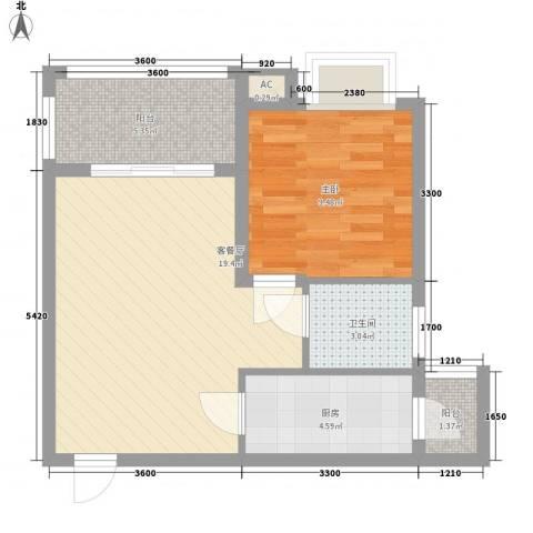海南大溪地住宅小区1室1厅1卫1厨59.00㎡户型图