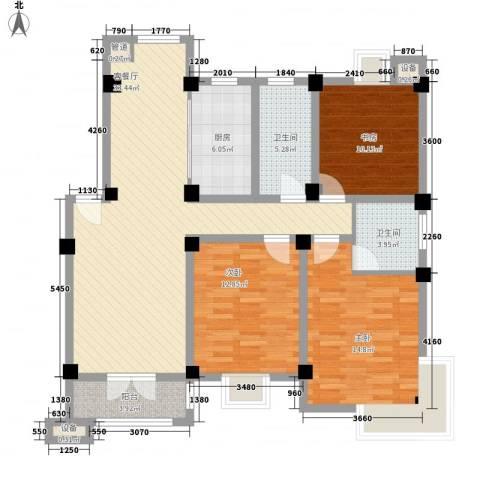世纪名门3室1厅2卫1厨136.00㎡户型图
