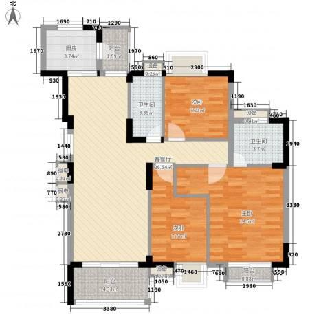 东泰花园嘉华苑3室1厅2卫1厨110.00㎡户型图