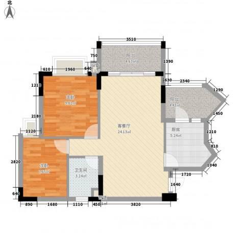 安南丽苑2室1厅1卫1厨85.00㎡户型图
