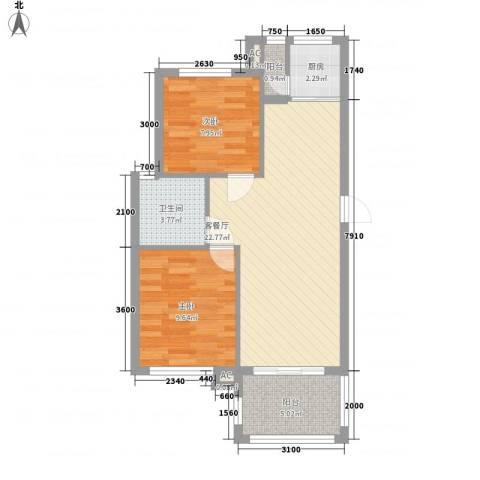 海南大溪地住宅小区2室1厅1卫1厨78.00㎡户型图