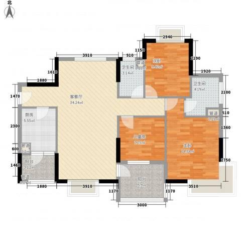 联华花园城三期3室1厅2卫1厨117.00㎡户型图