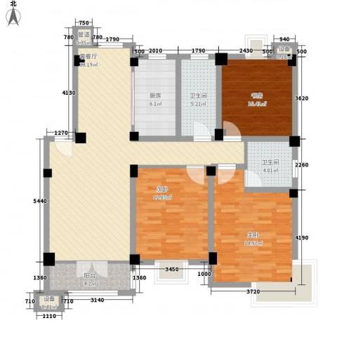 世纪名门3室1厅2卫1厨134.00㎡户型图