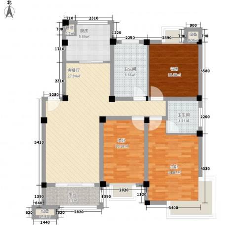 世纪名门3室1厅2卫1厨124.00㎡户型图