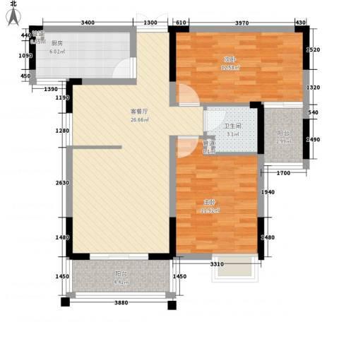 联发江岸汇景2室1厅1卫1厨98.00㎡户型图