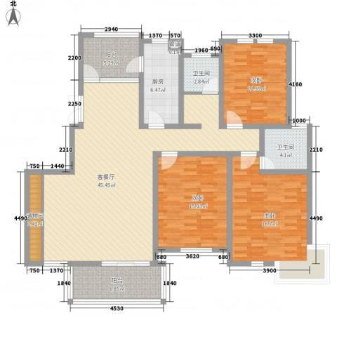 金月湾花园3室1厅2卫1厨117.24㎡户型图