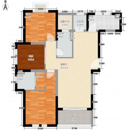 古北御庭3室1厅3卫1厨123.00㎡户型图