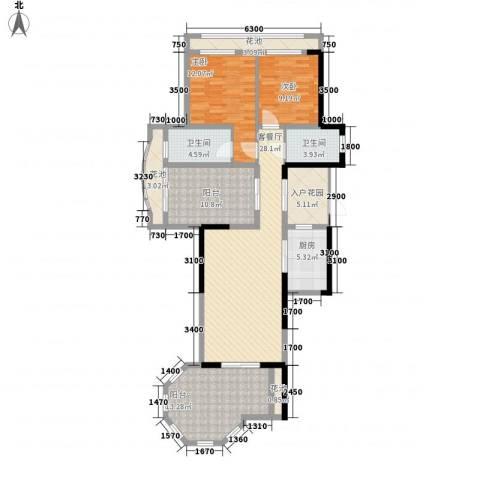 君和君泰2室1厅2卫1厨119.00㎡户型图