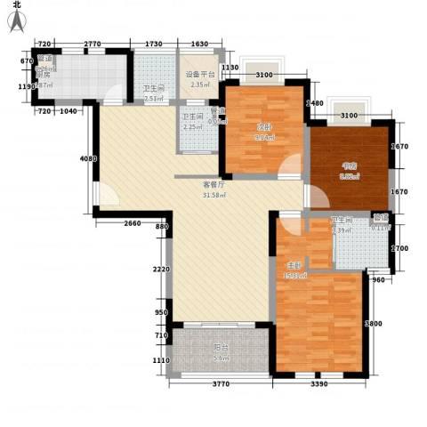 古北御庭3室1厅3卫1厨126.00㎡户型图
