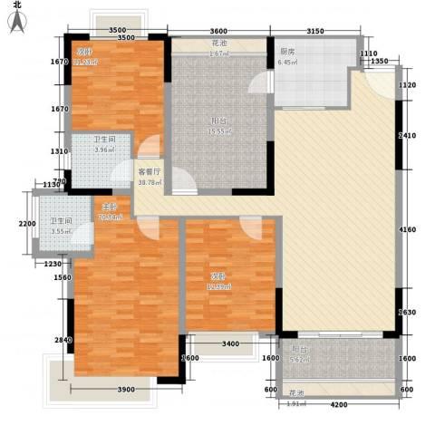 东泰花园嘉华苑3室1厅2卫1厨121.43㎡户型图