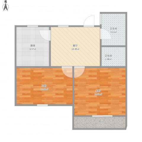 罗山五村2室1厅2卫1厨70.00㎡户型图