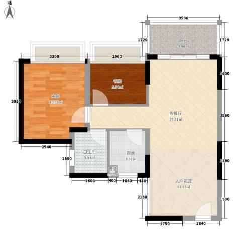 金月湾花园2室1厅1卫1厨158.00㎡户型图