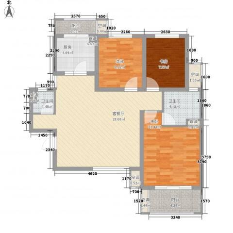 中锐隽苑3室1厅2卫1厨112.00㎡户型图