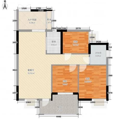 山畔阳光3室1厅1卫1厨117.00㎡户型图