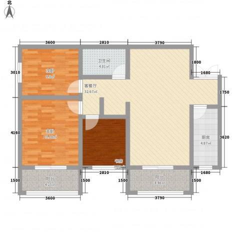上水观园3室1厅1卫1厨122.00㎡户型图