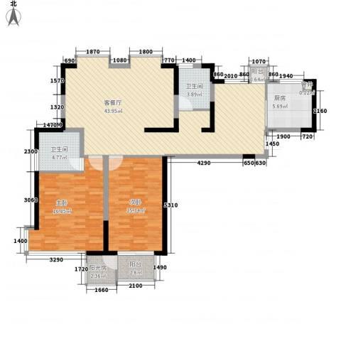 长安西街1号2室1厅2卫1厨136.00㎡户型图