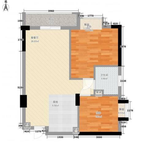 顺联新城花园2室1厅1卫0厨74.00㎡户型图