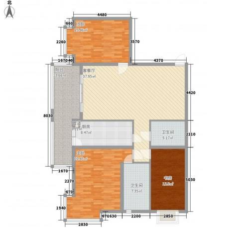上实盛世江南3室1厅2卫1厨169.00㎡户型图