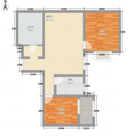 上水观园2室1厅1卫1厨97.00㎡户型图
