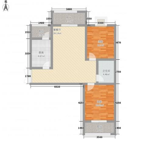 上水观园2室1厅1卫1厨113.00㎡户型图
