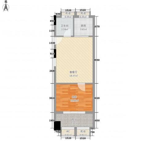 金地假日广场1室1厅1卫1厨64.00㎡户型图