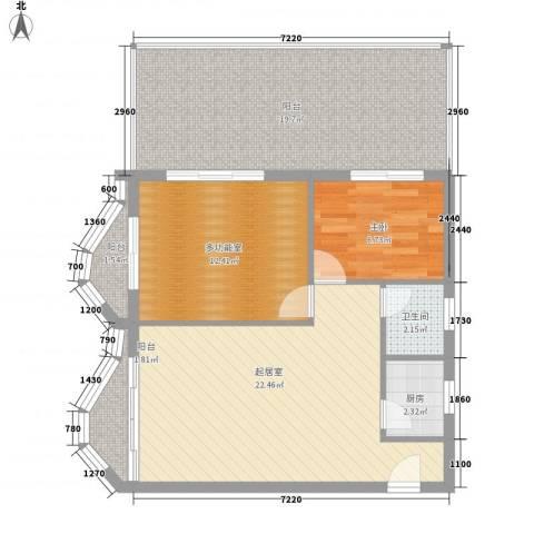 博鳌左岸1室0厅1卫1厨97.00㎡户型图