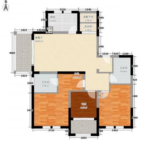 古北御庭3室1厅2卫1厨135.00㎡户型图