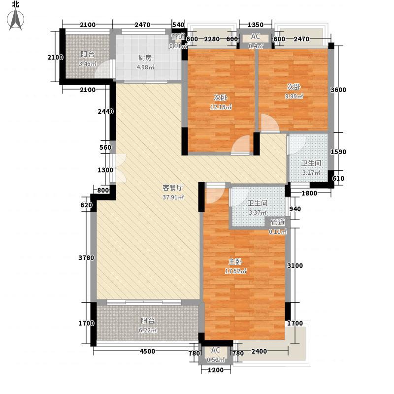 冠亚・尚成国际131.00㎡8-1-F-1户型3室2厅2卫1厨