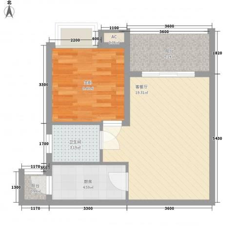 海南大溪地住宅小区1室1厅1卫1厨57.00㎡户型图