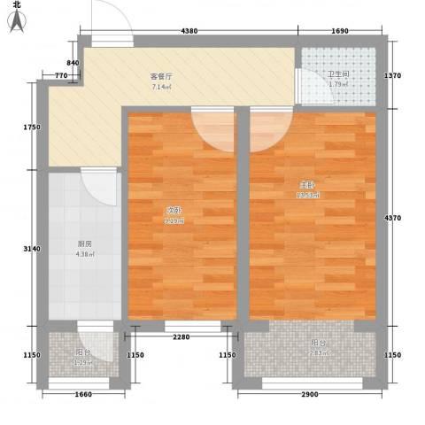 万通维多利亚湾2室1厅1卫1厨54.00㎡户型图
