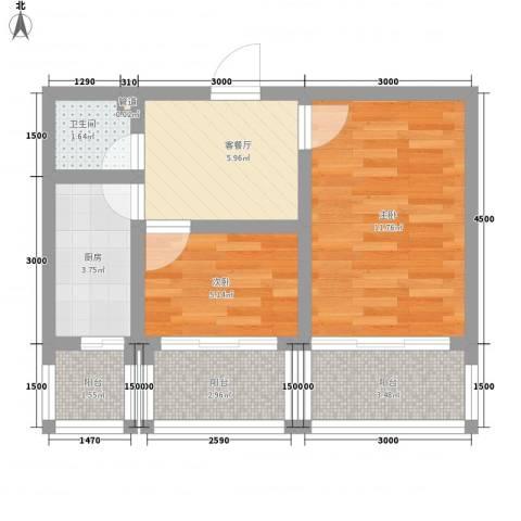 滨河新村2室1厅1卫1厨44.79㎡户型图