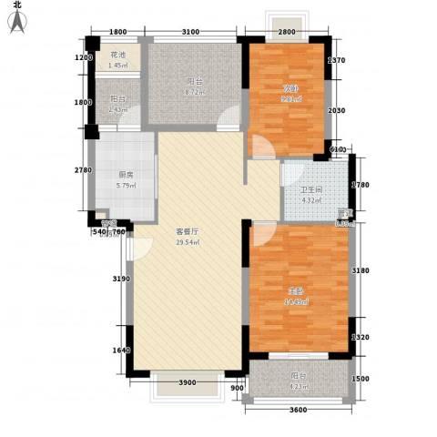 万达西双版纳国际度假区2室1厅1卫1厨93.00㎡户型图