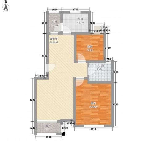 证大家园四期2室1厅1卫1厨88.00㎡户型图