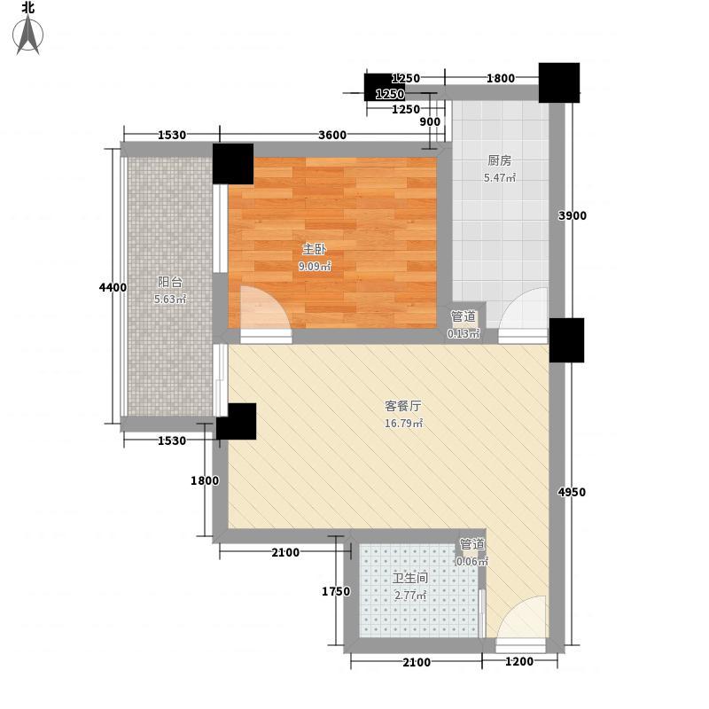 橙堡55.66㎡H型户型1室2厅1卫1厨