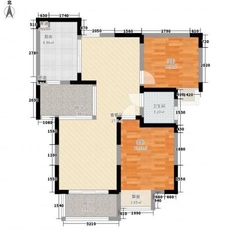 蓝鼎滨湖假日枫丹苑2室1厅1卫1厨101.00㎡户型图