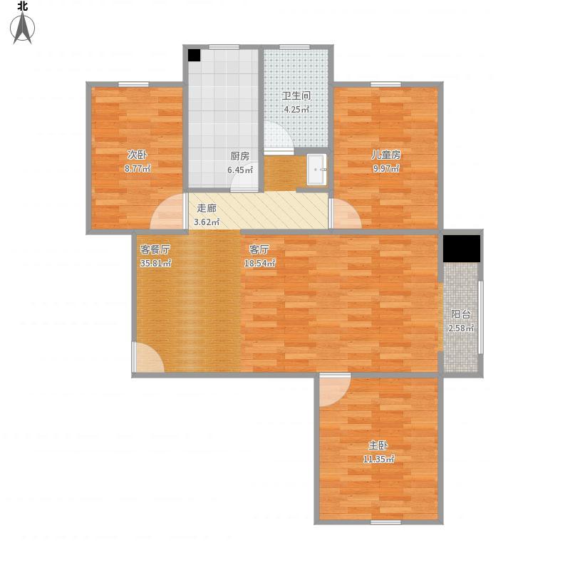 北京自在城3室2厅1厨1卫110㎡L户型