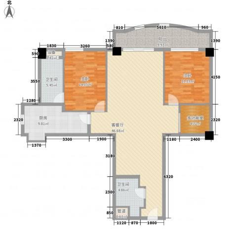静安艺庭2室1厅2卫1厨155.00㎡户型图