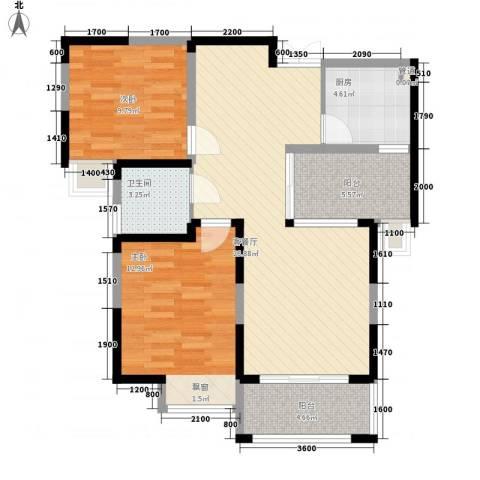 蓝鼎滨湖假日枫丹苑2室1厅1卫1厨97.00㎡户型图
