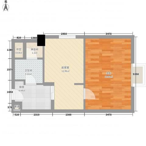 海航白金汇1室0厅1卫1厨57.00㎡户型图