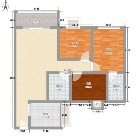 海航白金汇3室0厅2卫1厨120.00㎡户型图
